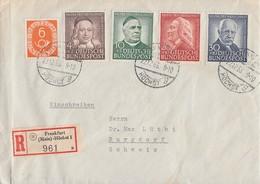 Bund R-Brief Mif Minr.126,173-176 Frankfurt-Höchst 22.12.53 Gel. In Schweiz Portogerecht - BRD