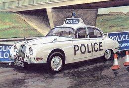 Jaguar S Type Police Car  -  Art Card    -  CPM - Toerisme