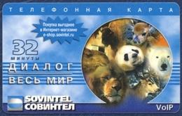 RUSSIA - RUSSIE RUSSLAND - RUSIA SOVINTEL PRE-PAID CARD 32 UNITS FAUNA ANIMALS PANDA WHITE BEAR DEER BISON CAMEL LION - Russia