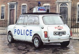 Austin Mini Cooper S Police Car (1969)  -  Art Card    -  CPM - Toerisme