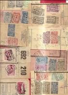 XXXL-919    MEER DAN 70 FRAGMENTEN MET SPOORWEGZEGELS  PERIODE TOT 1990 - 1942-1951