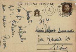 INTERO 30 C IMPERIALE  ANNULLO REGIA NAVE FULMINE1940 X TORINO - 1900-44 Vittorio Emanuele III