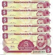 NICARAGUA 5 CENTAVOS ND (1990) P-168 NEUF PRÉFIXE A/D 5 PCS [NI462b] - Nicaragua