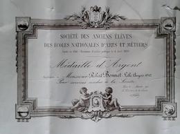 DIPLOME # DIPLÔME SOCIÉTÉS DES ANCIENS ÉLÈVES DE L ECOLE NATIONAL DES ART ET MÉTIER MÉDAILLE D ARGENT 1912 LILLE - Diplomi E Pagelle