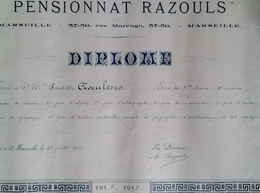 DIPLÔME  MARSEILLE PENSIONNAT RAZOULS 1919 - Diplomi E Pagelle