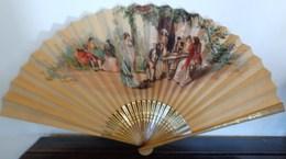 ANCIEN EVENTAIL ESPAGNOL XIXè Sérénade à La Taverne Toréadors Et Musiciens Ca 1870 OLD SPANISH FAN CHROMOLITHOGRAPHIE - Fans