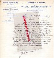 03- SAINT POURCAIN SUR SIOULE- RARE LETTRE MANUSCRITE SIGNEE M. DEMONET-FABRIQUE HUILES DE NOIX-COLZA-1927 - Food