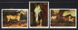 CIAD - 1973 - Cavalli - Horses - Details From Paintings -  USATI - Ciad (1960-...)