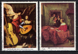 CIAD - 1973 - Paintings With Musical Instruments: St. Cecilia And Angel, By Carlo Saraceni-Woman Listening To Vio- USATI - Ciad (1960-...)