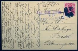 "1914 , ALEMANIA , TARJETA POSTAL CIRCULADA A BASILEA , MARCA "" S.B. II. BATL. LANDW . JNT . R. 52 "" , PINTADA A MANO - Briefe U. Dokumente"