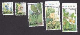 Kenya, Scott #350-354, Mint Hinged, Flowers, Issued 1985 - Kenya (1963-...)