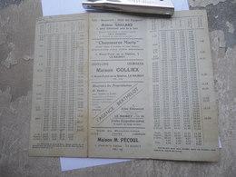 HORAIRE Autocar JAMPIERRE 1935 Les Coudreaux Montfermeil Clichy Sous Bois Gagny Le Raincy - Transports