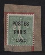 Préo N°28 - Semeuse Lignee - 15c Surcharge POSTES PARIS 1921 - Sur Fragment - Cote 200€ - Préoblitérés