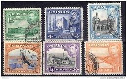 CYPRUS 1938 KGVI 6 Values (0.25pi, 0.5pi, 1pi, 1.5pi Green, 4pi Ultram, 6pi) Used - Cyprus (...-1960)