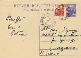 Petina. 1948. Annullo Frazionario (57 - 149) Su Cartolina Postale Con Democratica - 6. 1946-.. Repubblica