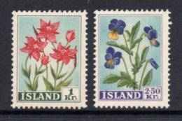 ICELAND 1958 Wild Flowers: Set Of 2 Stamps UM/MNH - 1944-... Republic