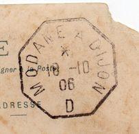 """Cachet Octogonal Ambulant""""MODANE à DIJON - D """" Daté 18-10-06 Sur CPA LANSLEBOURG-73 - Marcophilie (Lettres)"""