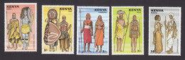 Kenya, Scott #403-407, Mint Hinged, Ceremonial Costumes, Issued 1987 - Kenya (1963-...)