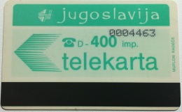 YOUGOSLAV : 49 400 Imp PTT Reverse (7 Digits) USED - Yougoslavie