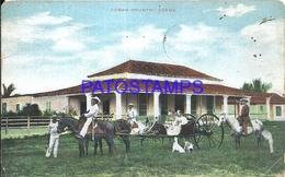 92471 CUBA HABANA COUNTRY SCENE PEOPLE IN CARRIAGE A HORSE BREAK POSTAL POSTCARD - Postcards
