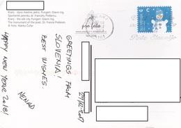 22A: Slovenia Winter Snowman Stamp Used On Kranj Postcard - Slovenia