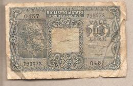 "Italia - Banconota Circolata Da 10 Lire ""Giove"" Bolaffi Simoneschi Giovinco - 1944 - [ 1] …-1946 : Kingdom"