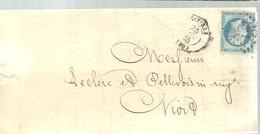 LETTER  POITIERS A NIORT1865 - Marcofilia (sobres)