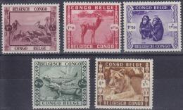 Belgian Congo - 209/213 - Zoo Leopoldville - Animals - 1939 - MNH - 1894-1923 Mols: Ungebraucht