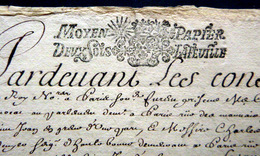 CACHET GENERALITES 1694 MOYEN PAPIER DEUX SOLS LA FEUILLE SUR UN ACTE MANUSCRIT DE TRANSPORT DE MARCHANDISES - Seals Of Generality