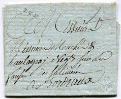 LOT ET GARONNE De SAINT FRONT LAC Du 15/01/1788 Marque Lenain N°1 De FUMEL Et Taxe De 4 Pour BORDEAUX - Marcophilie (Lettres)