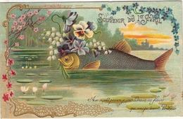 CP Souvenir Du 1 Er Avril Avec Ce Petit Poisson Je Vous Adresse Ces Fleurs Qui Vous Porteront Bonheur - April Fool's Day