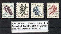 POLONIA - 1968 - Lotto 4 Francobolli Tematica Giochi Olimpici - Grenoble - Nuovi  ** - (FDC9202) - Inverno1968: Grenoble