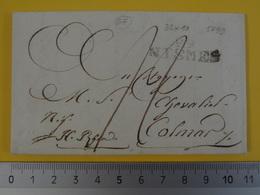 67 29/ NISMES (Gard) 32x10mm Pour Colmar Lettre De 1799 Cote 35€ Nîmes - Marcophilie (Lettres)