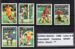 "GUINEA BISSAU - 1988 - Lotto 6 Francobolli Tematica "" SPORT - Calcio - Usati - (FDC9203) - Guinea-Bissau"