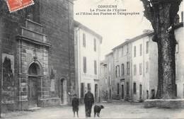 Correns - La Place De L'Eglise Et De L'Hôtel Des Postes Et Télégraphes - Frankrijk