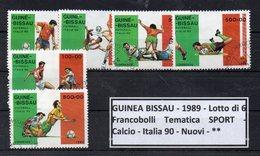"GUINEA BISSAU - 1989 - Lotto 6 Francobolli Tematica "" SPORT - Calcio - Italia 90 - Usati - (FDC9205) - Guinea-Bissau"