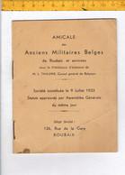 45826 - AMICALE DES ANCIENS MILITAIRES BELGES DE ROUBAIX ET ENVIRONS - 1933 - Documents
