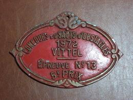 Plaque Concours Sauts D'Obstacles - Vittel (88) 1972 - 5ème Prix - Agriculture - Elevage - Comice - Ecurie - Equitation - Other Collections