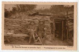 CPA SECTEUR BELGE DE L YSER   POSTE DE SECOURS EN PREMIERE LIGNE     AUMONIER ET INFIRMIER ASSIS - War 1914-18