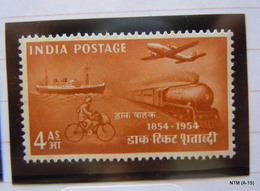 India1954, India Post Centenary 4 As. Stamp. MH SG 350, Scott 250 - 1950-59 République
