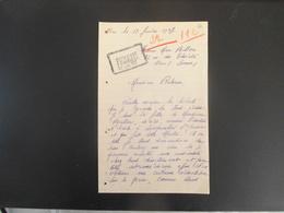 HAM MADAME MAX BILLON R. THEATRE FILLE DE M.HOULLIER ANCIEN DIRECTEUR D'ECOLE A LESQUIELLES COURRIER DU 18 JANVIER 1937 - Manuscripts
