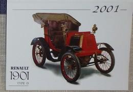 Petit Calendrier Poche 2001 Voiture Ancienne Renault 1901 La Meignanne Maine Et Loire - Calendars