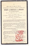 DP Adel Noblesse - Charles Gabr. Du Chasteler Et De Moulbaix / De Marnix 47j. ° Brussel 1861 † 1908 / Ath - Devotion Images