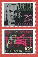 COLOMBIA MNH - 1986 Veneration Of Bach, Handel And Schutz - 70 + 100 $ Peso - Michel CO 1678 - 1679 - Colombia
