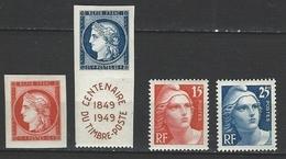 """FR YT 830 à 833 """" Centenaire Du Timbre """" 1949 Neuf** - France"""