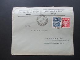 Lettland Latvija Freimarken Kleines Staatswappen MiF Stempelfehler 1912 Statt 1922?! Lettlän Speditions AG Gerhard & Hey - Latvia