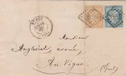 Yvert 59 + 60A Cérès Sur Lettre NIMES Gard GC 2659 Du 18/10/1872 Pour Le Vigan - Poststempel (Briefe)
