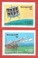 "ARGENTINA MNH - 1991 Philatelic Exhibition ""IBEROPRENFIL"" - Buenos Aires - 2 X 4000+4000 ₳ - Michel AR 2109 2110 - Argentina"