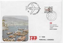 PORTUGAL- Envelope Carimbado 1º Voo TAP Funchal/Londres 2.4.74. - Emissions Locales