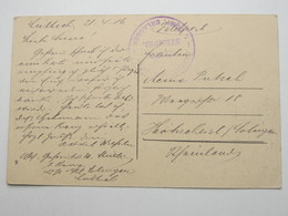 1916 , ERLANGEN , Truppenstempel Auf Feldpostkarte Aus Belgien - Duitsland